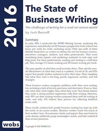 state of business writing 2016